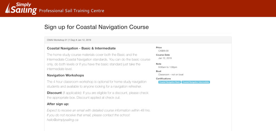 Public Course Sign-Up Page
